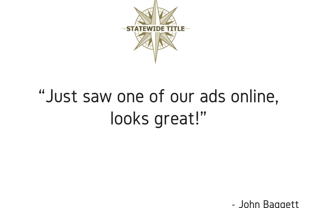Just saw one of our ads online, looks great!