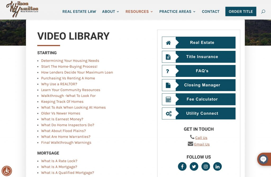 Video Library Page Screenshot