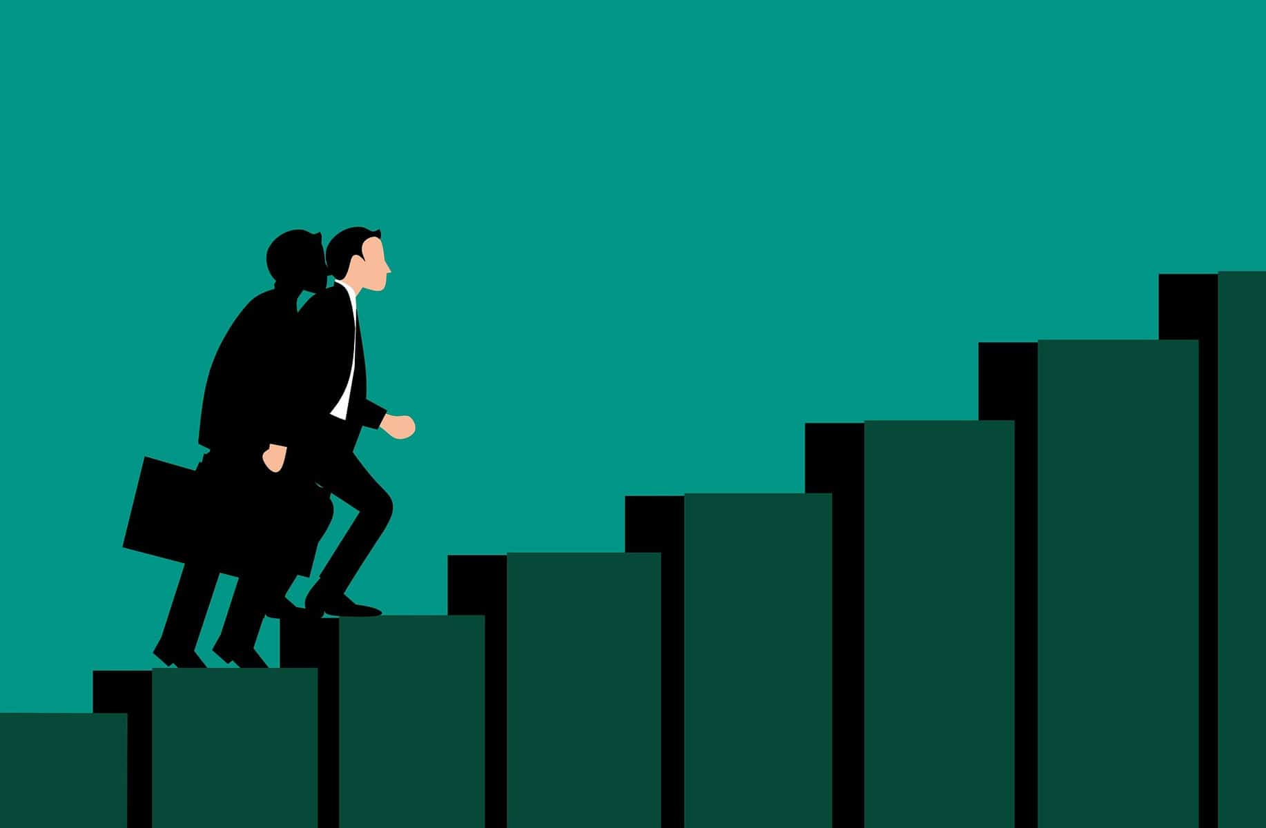 Illustration of business man climbing stairs.
