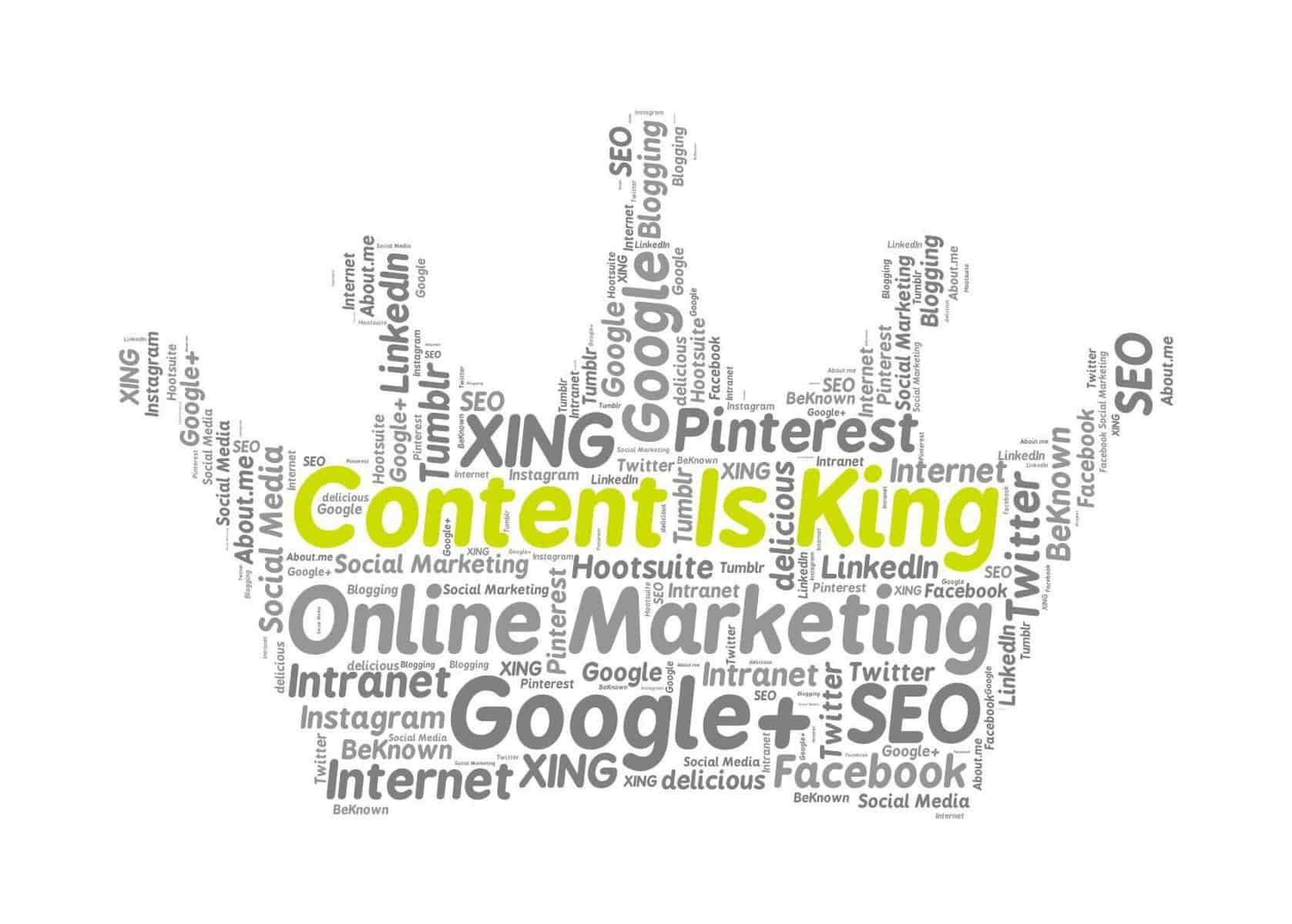 Word cloud shaped like crown with marketing words