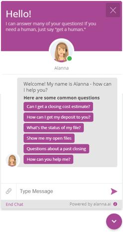 Alanna Web Widget Screenshot