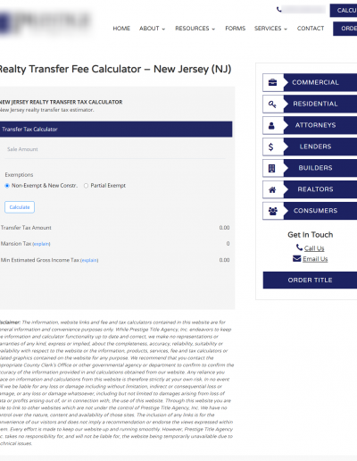 New Jersey Realty Fee Calculator 1