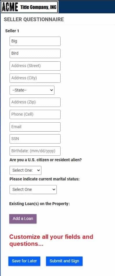 Seller Questionnaire screenshot 2