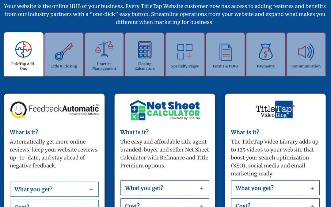 TitleTap Adds Website Integrations for Qualia, Closer's Choice, Alanna.ai, Zoccam and more to their HUB